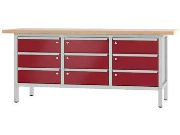 PADOR Werkbank »31 S 333«, rot, 85.5 cm, grau/rot