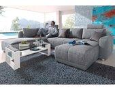 Places of Style Wohnlandschaft, mit Federkern, Bettfunktion und Bettkasten, inklusive 2 Kopfstützen, frei im Raum stellbar, grau, grau