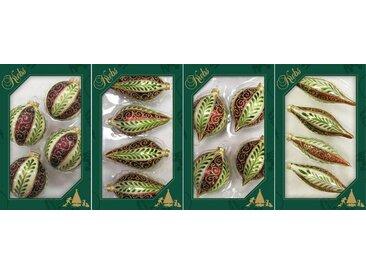 Krebs Glas Lauscha Christbaumschmuck »Kugel, Tropfen, Olive, Zwiebel« (16-tlg), mit Blätterranken dekoriert, mundgeblasen