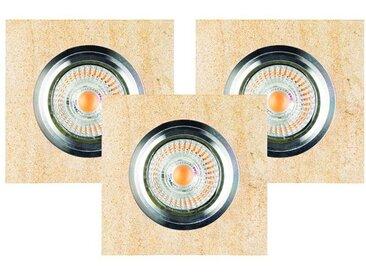 SPOT Light Deckenstrahler »Vitar«, 3-flammig, 3er Set, Inklusive austauschbare LED-Leuchtmittel, Naturlicher Sandstein, Naturprodukt aus Naturstein