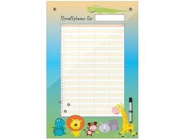 Bilderdepot24 Glasbild, Memoboard - Monatsplaner für Kinder - Dschungeltiere
