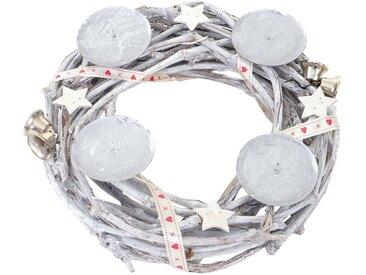 MCW Adventskranz »T783«, Ø 30 cm, Mit 4 Kerzenhaltern, Aufwendig geschmückt, weiß, weiß