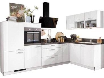 Express Küchen Winkelküche »Scafa«, mit E-Geräten, vormontiert und mit Soft-Close-Funktion, Stellbreite 305 x 185 cm, weiß, Spüle rechts, weiß hg