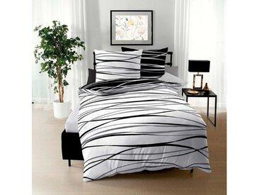 BETTWARENSHOP Wendebettwäsche »Satinmotion black&white«, feine Ganzjahreswäsche, 1 St. x 135 cm x 200 cm