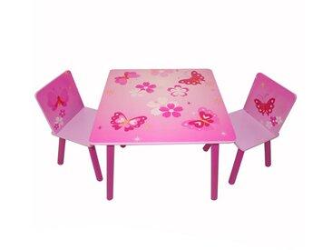 Homestyle4u Kindersitzgruppe, Set aus Kindertisch und -stuhl *Schmetterling*, rosa, rosa