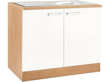 OPTIFIT Spülenschrank »Odense« 100 cm breit, mit 2 Türen, inkl. Einbauspüle aus Edelstahl, weiß, weiß/buche
