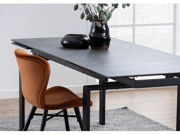 andas Esstisch »Hugh«, in verschiedenen Tischbreiten und Farbvarianten erhältlich, mit einer Auszugsfunktion, schwarz, Schwarz - Schwarz - Schwarz