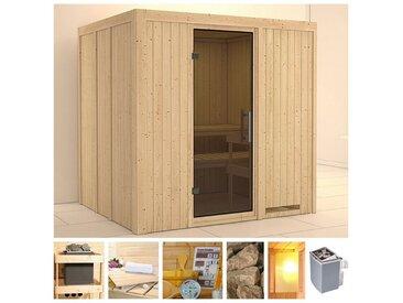 KONIFERA Sauna »Sanna«, 196x170x198 cm, 9 kW Ofen mit int. Strg., Glastür graphit, natur, 9 kW mit integrierter Steuerung, natur