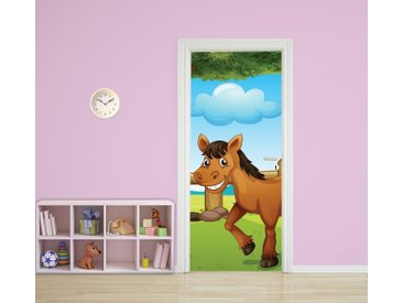 Bilderdepot24 Deco-Panel, Türaufkleber - Kinderbild Pferd II