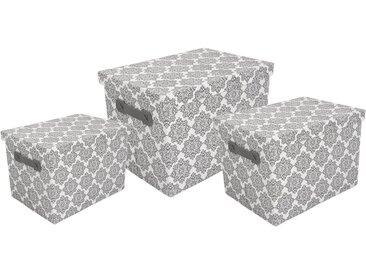 Franz Müller Flechtwaren Aufbewahrungsbox »TexBox« (Set, 3 Stück), grau, grau-weiß