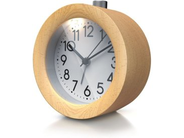 BEARWARE Wecker »Holz Wecker mit beleuchtetem Ziffernblatt« mit rundem Holzkorpus