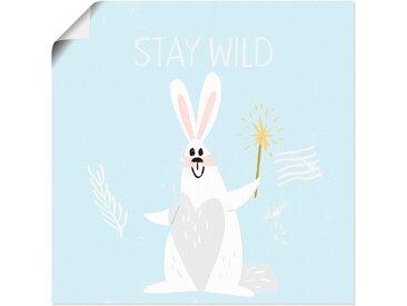 Artland Wandbild »Bleib Wild Kleiner Winter Hase im Schnee«, Tiere (1 Stück), in vielen Größen & Produktarten - Alubild / Outdoorbild für den Außenbereich, Leinwandbild, Poster