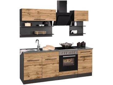 HELD MÖBEL Küchenzeile »Tulsa«, mit E-Geräten, Breite 210 cm, schwarze Metallgriffe, hochwertige MDF Fronten, natur, wotaneichefarben