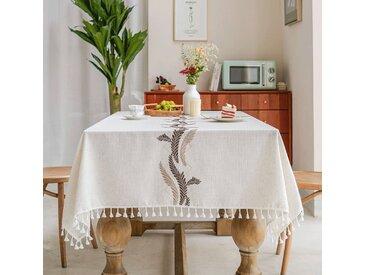 AMITRIS Tischdecke » Tischdecke Beige mit hochwertiger Quaste aus Baumwolle Leinen, Geeignet für Wohnzimmer Küche Tischdekoration«, braun, Braun