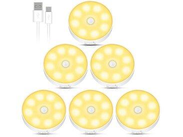 kueatily LED Nachtlicht »Nachtlicht mit Bewegungssensor, 6-teiliges wiederaufladbares USB-LED-Bewegungssensorlicht, automatisches Ein- / Ausschalten des Nachtlichts, magnetisches Sensorlicht für Schlafzimmer, Küche, Schrank, Kinderzimmer, Treppe«
