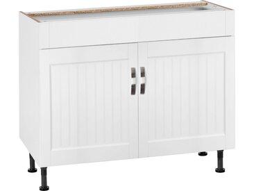 OPTIFIT Spülenschrank »Cara« Breite 100 cm, weiß, weiß Landhaus/weiß
