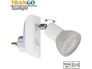 TRANGO LED Steckdosenleuchte, 11-046 LED Steckerlicht in weiß mit Lampenschirm aus Glas, Stecker-Nachtlicht inkl. 1x GU10 LED Leuchtmittel 3000K warmweiß & Ein/Aus- Schalter Leselampe