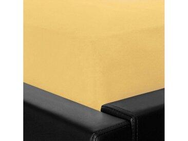 BETTWARENSHOP Spannbettlaken »Feinbiber«, weich und kuschelig mit Rundumgummi, gelb, gelb