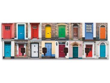 Artland Wandgarderobe »RTimages: Fotocollage von 32 bunten Haustüren«, bunt, 90x30 cm, Farbig