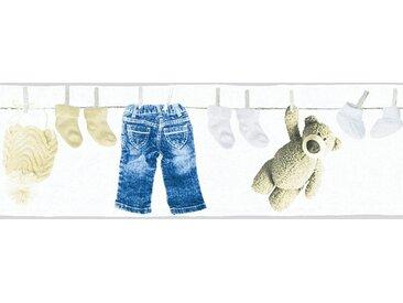 living walls Bordüre »Little Stars«, glatt, Borte mit Teddybären Kinderzimmer, Vlies, PVC-frei, bunt, weiß-blau