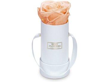 Holy Flowers Kunstblume »Rosenbox in weiß mit 1er Infinity Rose I 3 Jahre haltbar I Echte, duftende konservierte Blumen I by Raul Richter« Rose, Höhe 10 cm