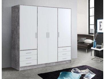 FORTE Kleiderschrank »Jupiter« in diversen Ausführungen, grau, Schubladen: 6 - Türen: 4, betonfarben/weiß