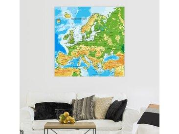 Posterlounge Wandbild, Europa - Physische Karte, Premium-Poster