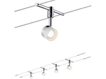 Paulmann LED Deckenleuchte »Wohnzimmerlampe LED 4x5W Stage 230/12V, Weiß/Chrom«, Seilsystem