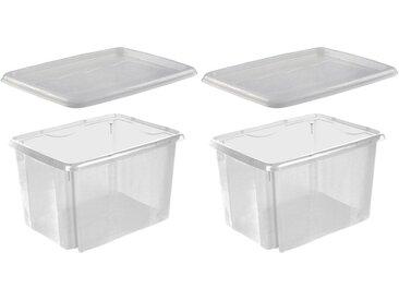 keeeper Stapelbox »emil« (Set, 2 Stück), mit Deckel, 44,5 x 34,5 x 27 cm, 30 Liter, 2er Set, weiß, transparent