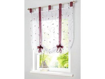 i@home Bändchenrollo »Bestickt Raffrollo Gardinen Vorhang Fenstergardinen Scheibengardinen«, mit Schlaufen, mit Stickerei, rot, Weinrot