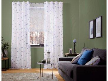 my home Raffrollo »Stern«, mit Stangendurchzug, weiß, blau