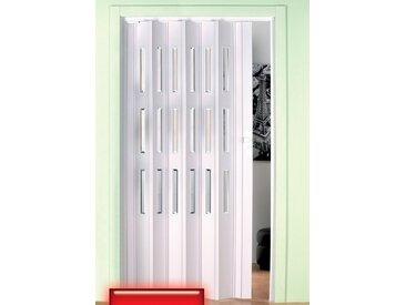Kunststoff-Falttür , Höhe nach Maß, weiß mit Fenstern im Facettenschliff, weiß, 104 cm, weiß