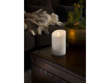 KONSTSMIDE LED Echtwachskerze mit 3D Flamme, weiß, Höhe 16cm, Lichtquelle warm-weiß, Weiß