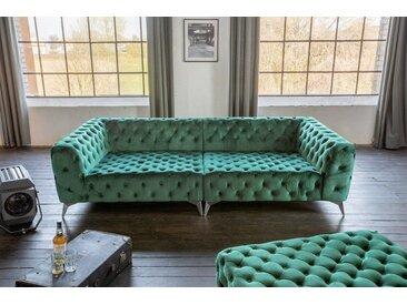 KAWOLA Big Sofa Chesterfield versch. Farben mit o. ohne Hocker »NARLA«, grün, ohne Hocker, grün