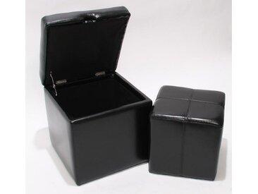 MCW Sitzwürfel »Carrara-II« (Set), Belastbarkeit ca. 150 kg, 2er Set aus Sitzhocker und Aufbewahrungsbox, schwarz, schwarz
