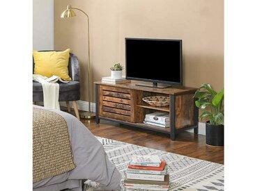 VASAGLE TV-Schrank »LTV41BX« Fernsehtisch für Fernseher bis zu 48 Zoll, TV-Schrank im Industrie-Design, Lowboard mit Schiebetüren und 2 Regalebenen, Wohnzimmer, Flur, 110 x 40 x 45 cm