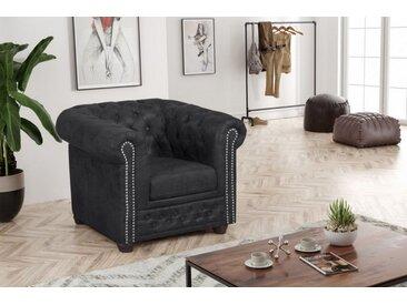 Küchen-Preisbombe Sofa »Chesterfield Sofa 1 Sitzer Mikrofaser Vintage anthrazit Couch Polstersofa Sessel«, Chesterfield Sessel