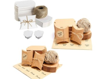 SurePromise One Stop Solution for Sourcing Geschenkbox (100 Stück), Kraft Papier DIY Geschenk Box + Aufkleber Etiketten Hanfseil