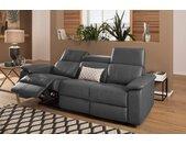 Home affaire 3-Sitzer »Binado«, Wahlweise mit manueller oder elektrischer Relaxfunktion mit USB-Anschluss, Federkern-Polsterung, grau