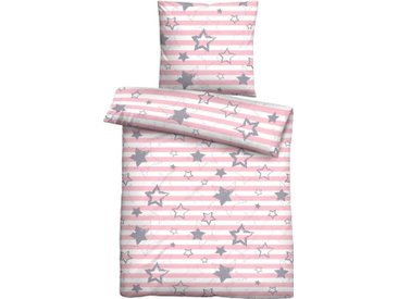 Biberna Jugendbettwäsche »Daria«, mit Sternen, rosa, 1 St. x 100 cm x 135 cm, rosa