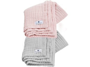 Nordic Coast Company Babydecke »4in1 Decke 2er Set Grau-Rosa«, Premium: 4-fach gewebt