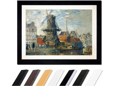 Bilderdepot24 Wandbild, Claude Monet - Windmühle am Onbekende Kanal, Amsterdam, bunt, Schwarz