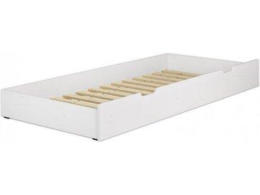 ERST-HOLZ Unterbettkommode, 90.10-S6 W - Gästebettkasten Kiefer waschweißLiegefläche 90x190 cm-Rollrost