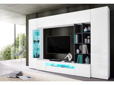 Tecnos Wohnwand, (Set, 5-tlg), weiß, weiß-schieferfarben