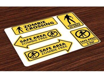 Abakuhaus Tischdecke, »Waschbare Stoff Esszimmer Küche Tischdekorations Digitaldruck«, (4-teilig, 4 Teilig-St., Set aus 4x), Zombie Safe Area Zone
