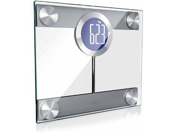 MyBeo Digitale Körperwaage im Glas Design »Display und Trittfläche extra groß / max. 200kg«, silberfarben, silber