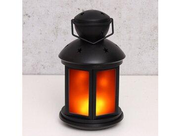 MARELIDA Laterne »LED Laterne schwarz - Bewegter Flammeneffekt - Batteriebetrieb«