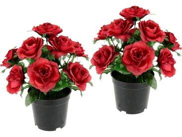I.GE.A. Kunstblume »Rosen im Topf«, Höhe 25 cm, 2er Set, rot, rot