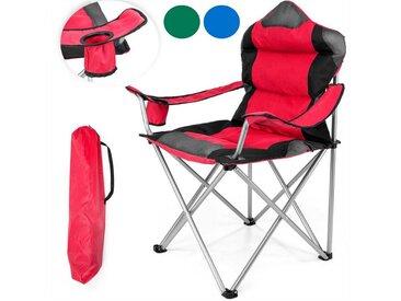 TRESKO Campingstuhl, Angelstuhl faltbar bis 150 kg, Faltstuhl Camping Klappstuhl Strandstuhl mit Armlehnen und Getränkehalter, rot, Rot