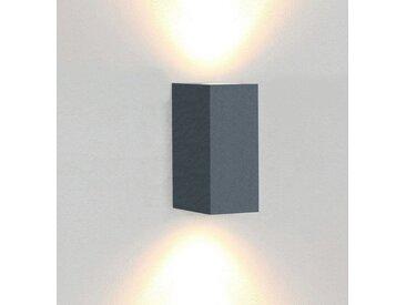 TRANGO LED Außen-Wandleuchte, 8011-SAL IP44 Alu LED Up & Down Wandlampe in Eckig anthrazit inkl. 2x 5 Watt warmweiß GU10 LED Leuchtmittel, als innen & außen Beleuchtung, Außenwandleuchte, Außenstrahler, Wandstrahler